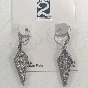 VINTAGE SILVER VELEN CRYSTAL KITE DROP EARRINGS